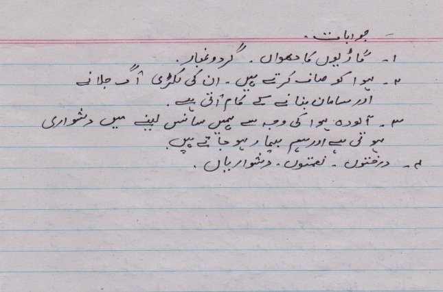 Alfaz Zid In Urdu For Class 5