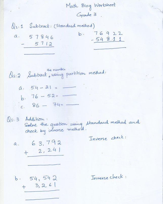 Class 3 Home Work / Worksheets | PAF JUNIORS