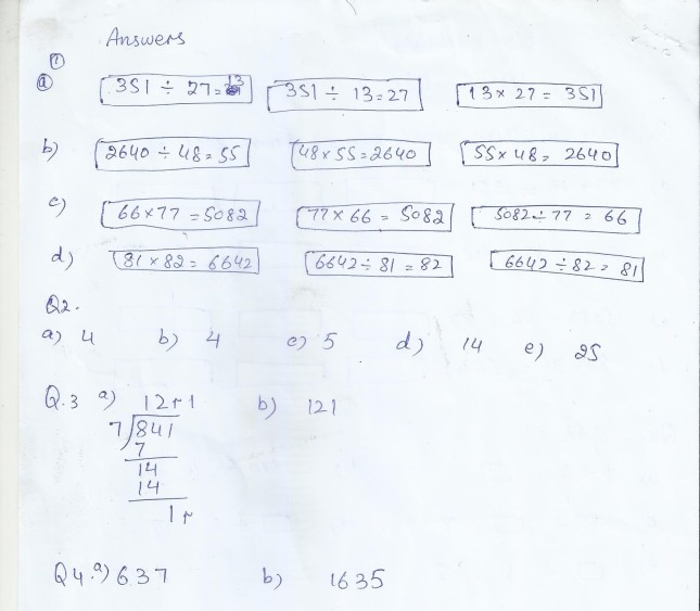 Class 5 Home Work / Worksheets   PAF JUNIORS
