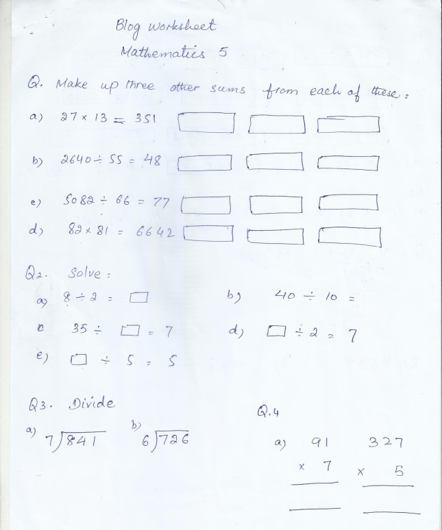 Class 5 Home Work / Worksheets | PAF JUNIORS