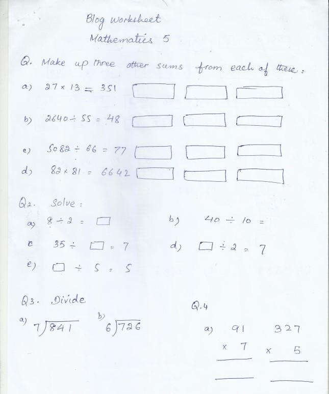 class  home work  worksheets  paf juniors  mathblogworksheetclass