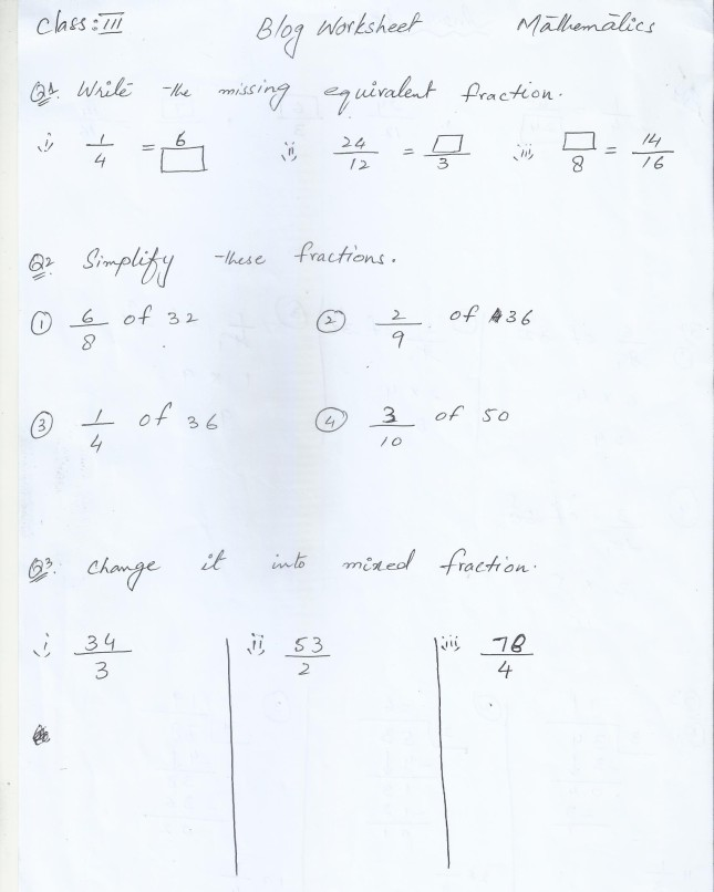 Class 3 Home Work / Worksheets   PAF JUNIORS