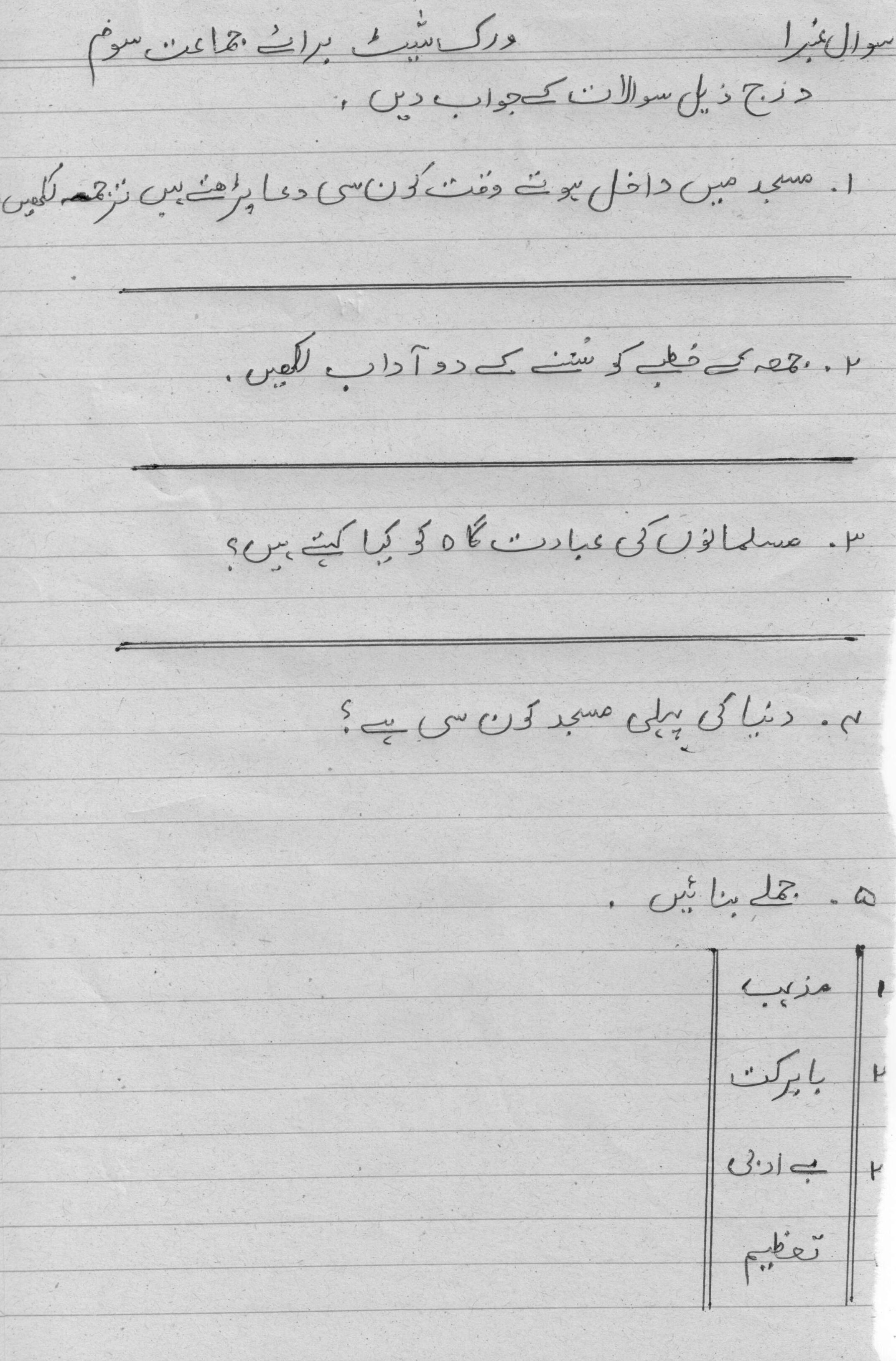 Class 3 (Urdu Reinforcement W.Sheet 1) Tafheem