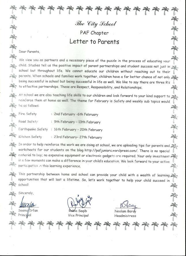Parent Letter To Inform Of Test Dates